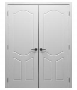 Çift kanatlı klasik menteşeli beyaz kapı